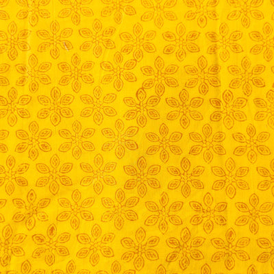 Pure Cotton Yellow Dabu With Outlined Flower Hand Block Print blouse Fabric ( 80 cm )