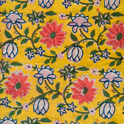 Pure Cotton Jaipuri Yellow With Wild Flower Jaal Hand Block Print Blouse Fabric ( 1 meter )