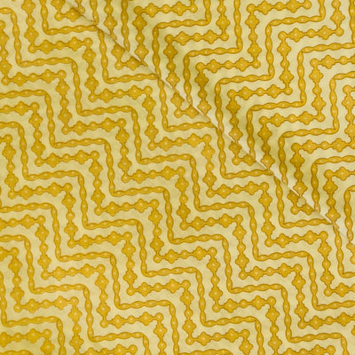 Pure Cotton Yellow With Brown Waves Screen Print Fabric