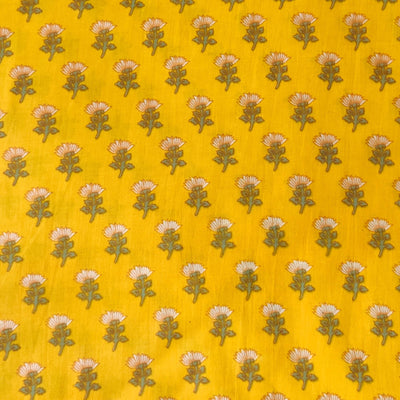 Pure Cotton Yellow With Light Cream Tiny Flower Motif Screen Print Fabric