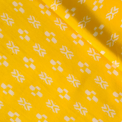 Pure Cotton Yellow With White Tiny Ikkat Pattern Screen Print Fabric