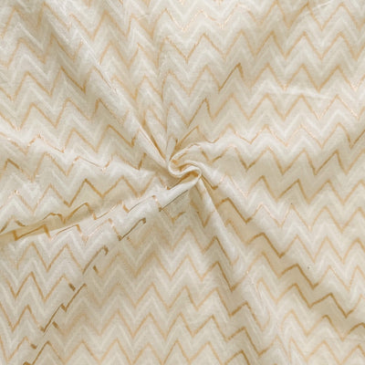 Pure Cotton Zig Zag Self Design Cream Fabric