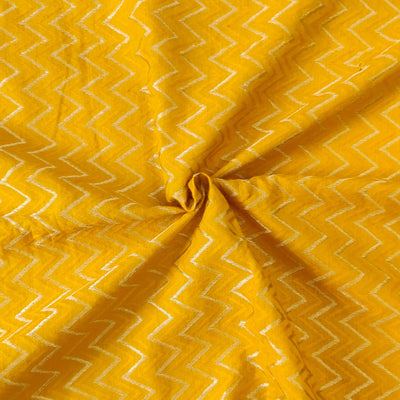 Pure Cotton Zig Zag Self Design Mustard Fabric