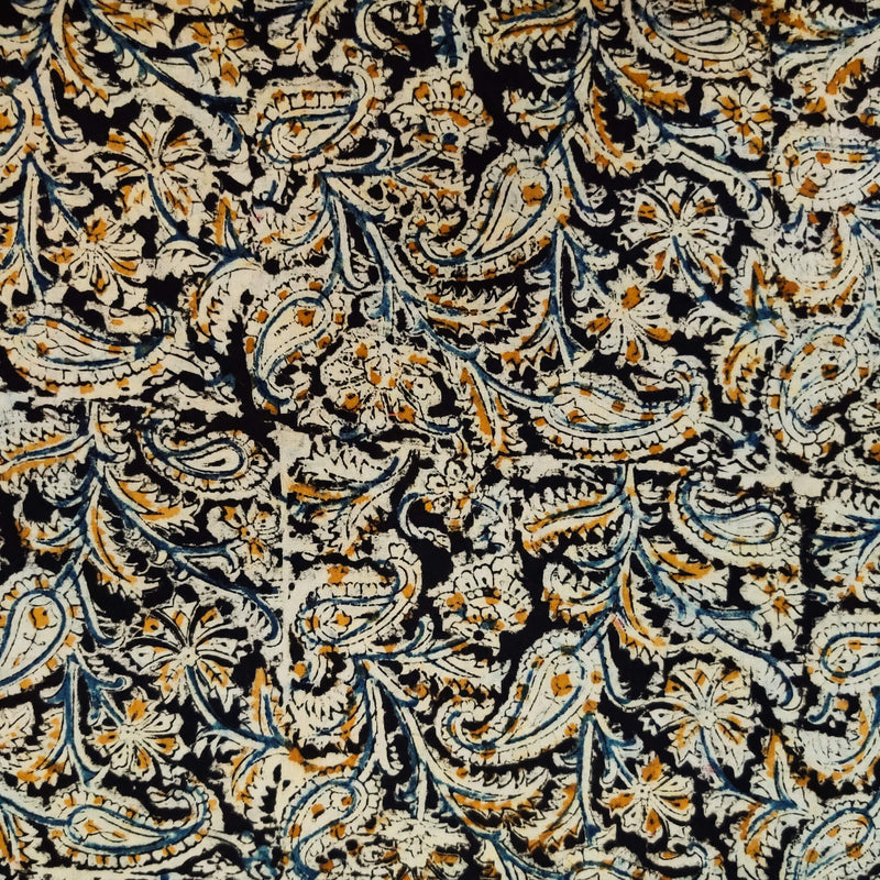 Pure Cottton Kalamkari Black With Mustard Cream Blue Kairi Jaal Hand Block Print Fabric