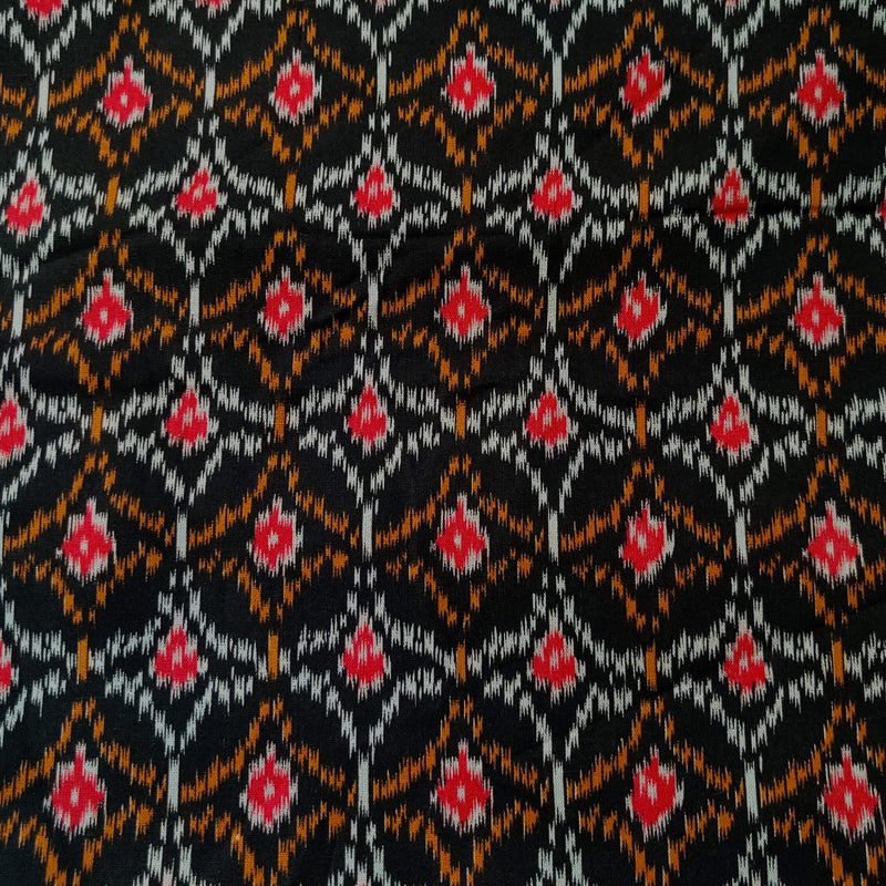 Pure Flex Cotton Black With Red Grey And Yellow Screen Print Fabric