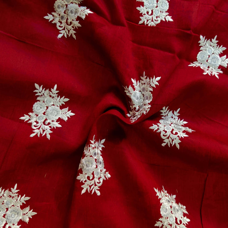 Pure Glazed Cotton Maroon With Light Grey Embroiedered Fabric