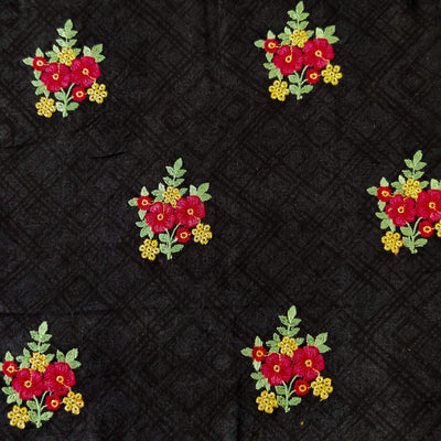Pure Glazed Cotton Self Design With Red Floral Bouquet Embroiedered Fabric