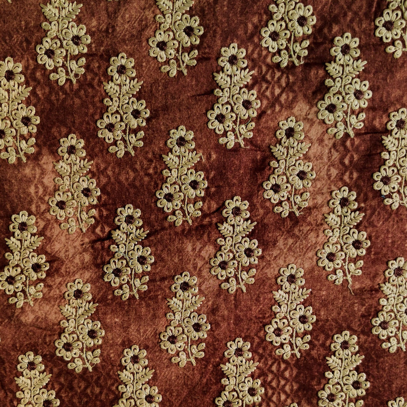 Pure Glazed Cotton With Brown Embroidered Motifs