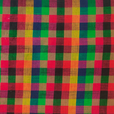 Pure Handloom Cotton With Shades Of Pink Green Yellow Checks Hand Block Print Fabric