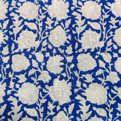 Pure Jaipuri Cotton Blue With White Flower Jaal Hand Block Print Fabric