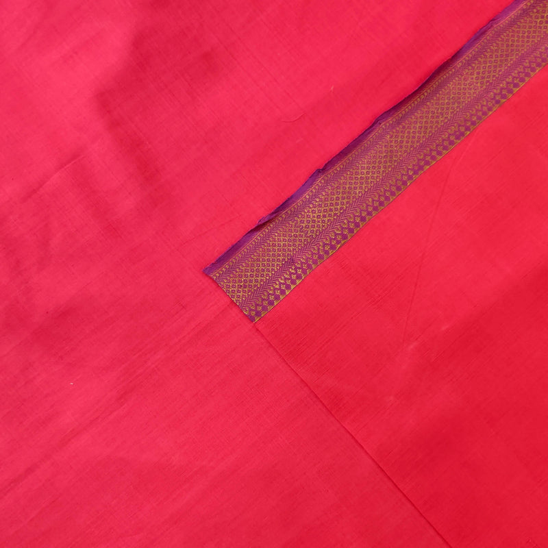 Pure Mangalgiri Cotton Pink Hand Woven Fabric