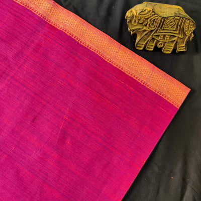 Pure Mangalgiri Cotton Purple Hand Woven Fabric