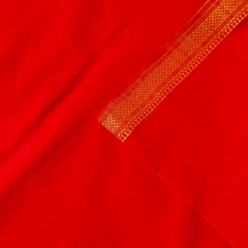 Pure Mangalgiri Cotton Red Hand Woven Fabric