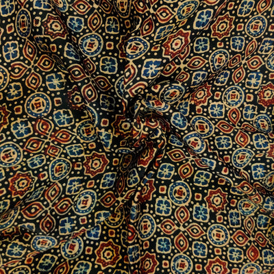 Pure Modal Silk Ajrak Black With Blue And Maroon Tile Hand Block Print Blouse Fabric ( 1 Meter )