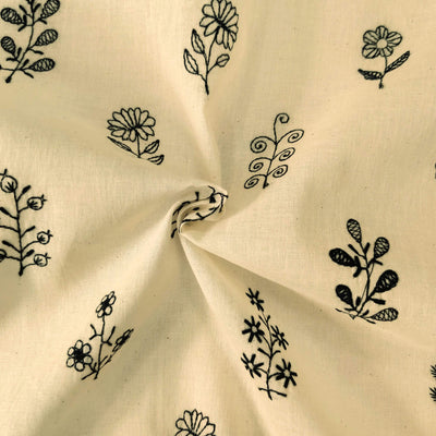 Pure Mul Cotton Cream With Black Flowers Embroidered Fabric