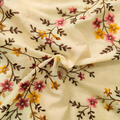 Pure Mul Cotton Cream With Mauve And Mustard Flower Jaal Embroidered  Fabric