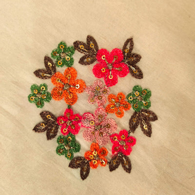 Pure Mul Cotton Cream With Orange Pink Flower Bunch  Embroidered Fabric