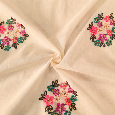 Pure Mul Cotton Cream With Pink Purple Teal Green Flower Bunch  Embroidered Fabric