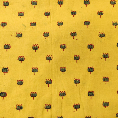 Pure Natural Ajrak Sandy Yellow With Green Lotus Hand Block Print Fabric
