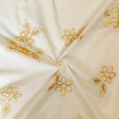 Pure Organic Cotton Cream With Sequence And Beige Thread Flower Motifs