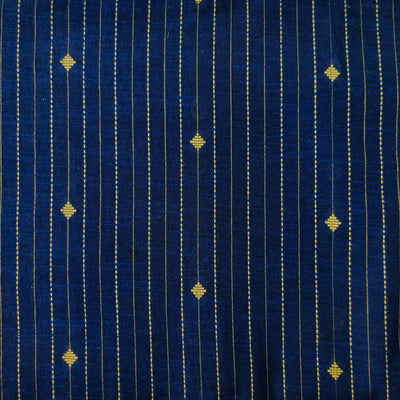 Pure South Cotton Blue With Zari And Thread Stripes And Tiny Diamond Motifs Woven Fabric