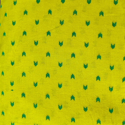 Pure South Cotton Green With Teal Arrow Heads Woven Fabric