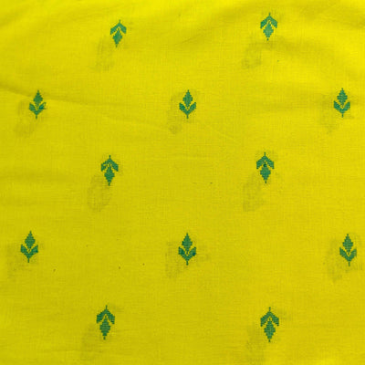 Pure South Cotton Green With Tiny Dark Green Spaced Out Motifs Woven Blouse Fabric ( 90 cm )