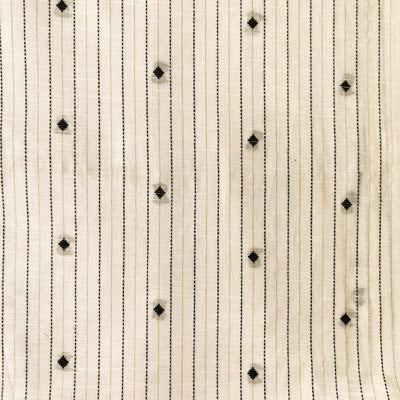 Pure South Cotton White With Zari And Thread Stripes And Tiny Diamond Motifs Woven Fabric