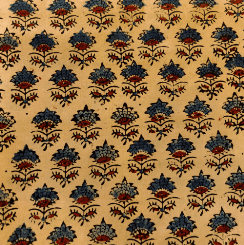 Pure Cotton Ajrak Beige With Blue Maroon Flower Motif Hand Block Print Blouse Fabric (1.25 Meter)