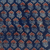 Pure Cotton Ajrak Blue With Maroon Flower Motif Hand Block Print Blouse Fabrics (1.25 Meter)