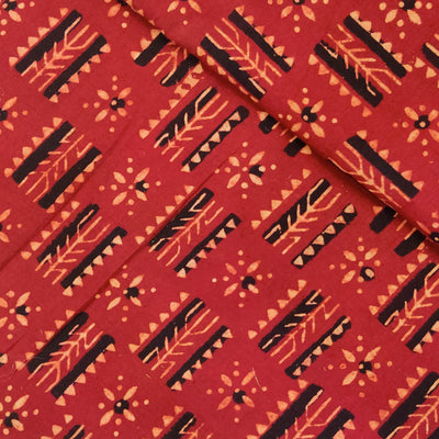Pure Cotton Ajrak Rust With Trible Hand Block Print Fabric