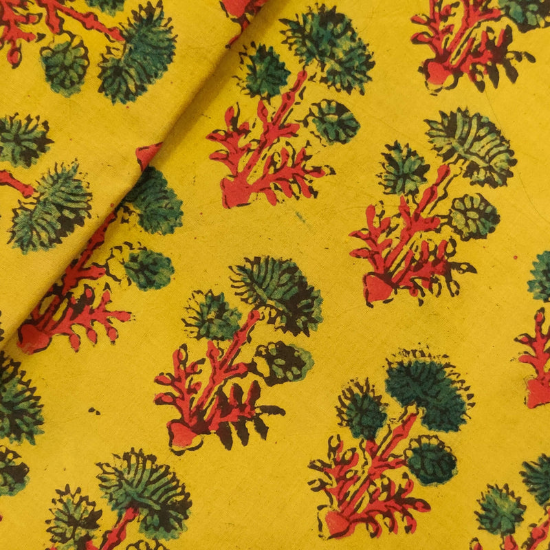 Pure Cotton Ajrak Yellow With Green Three Flower Motif Hand Block Print Fabric