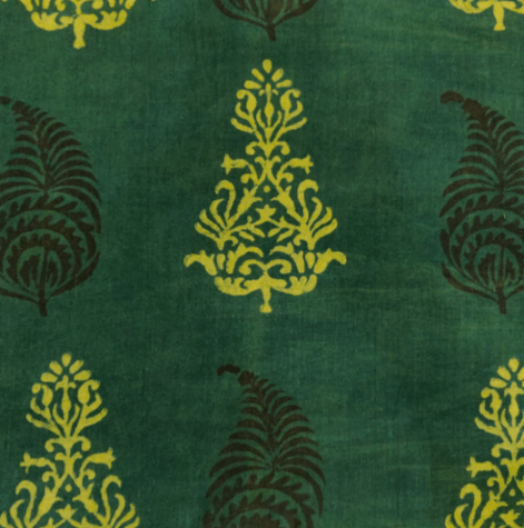 Pure Cotton Ankola Dabu Dark Green With Mustard Tree And Black Kairi Hand Block Print Blouse Fabric (1.25 Meter)
