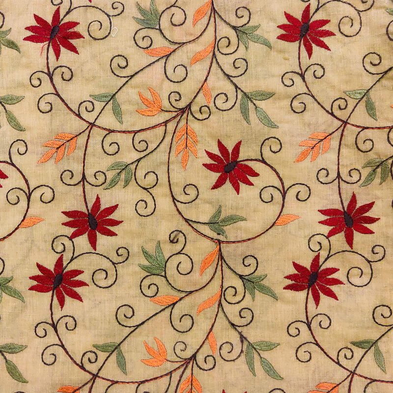 Pure Cotton Beige With Maroon Flower Jaal Embroidered Fabric