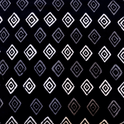 Pure Cotton Black With Grey And White Diamond Hand Block Print Blouse Fabric (1.25 Meter)
