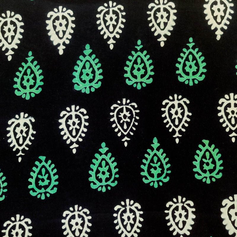 Pure Cotton Black With White And Green Intricate Motif Hand Block Print blouse Fabric ( 1 meter )