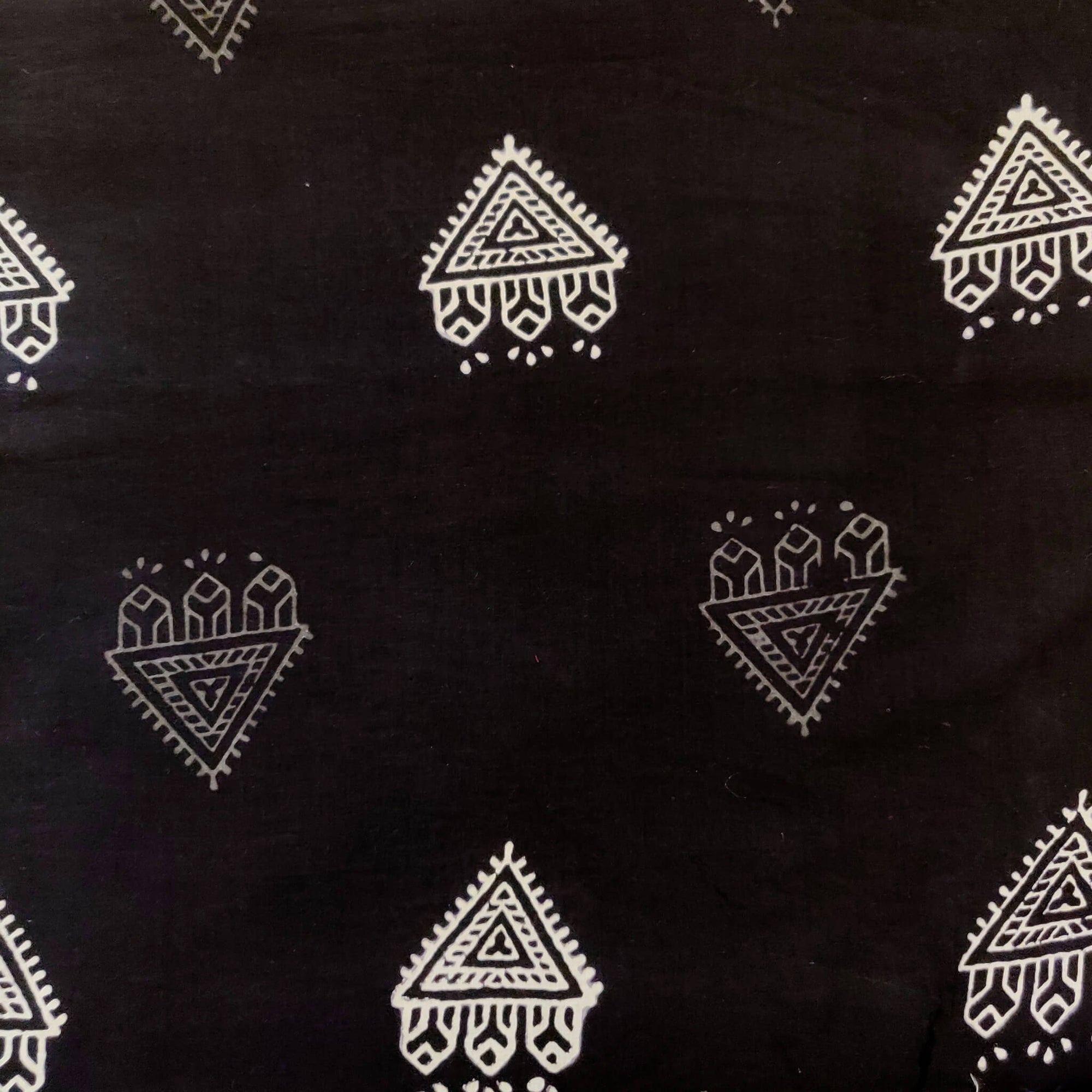 Pure Cotton Black With White And Grey Tribale Hand Block Print Fabric