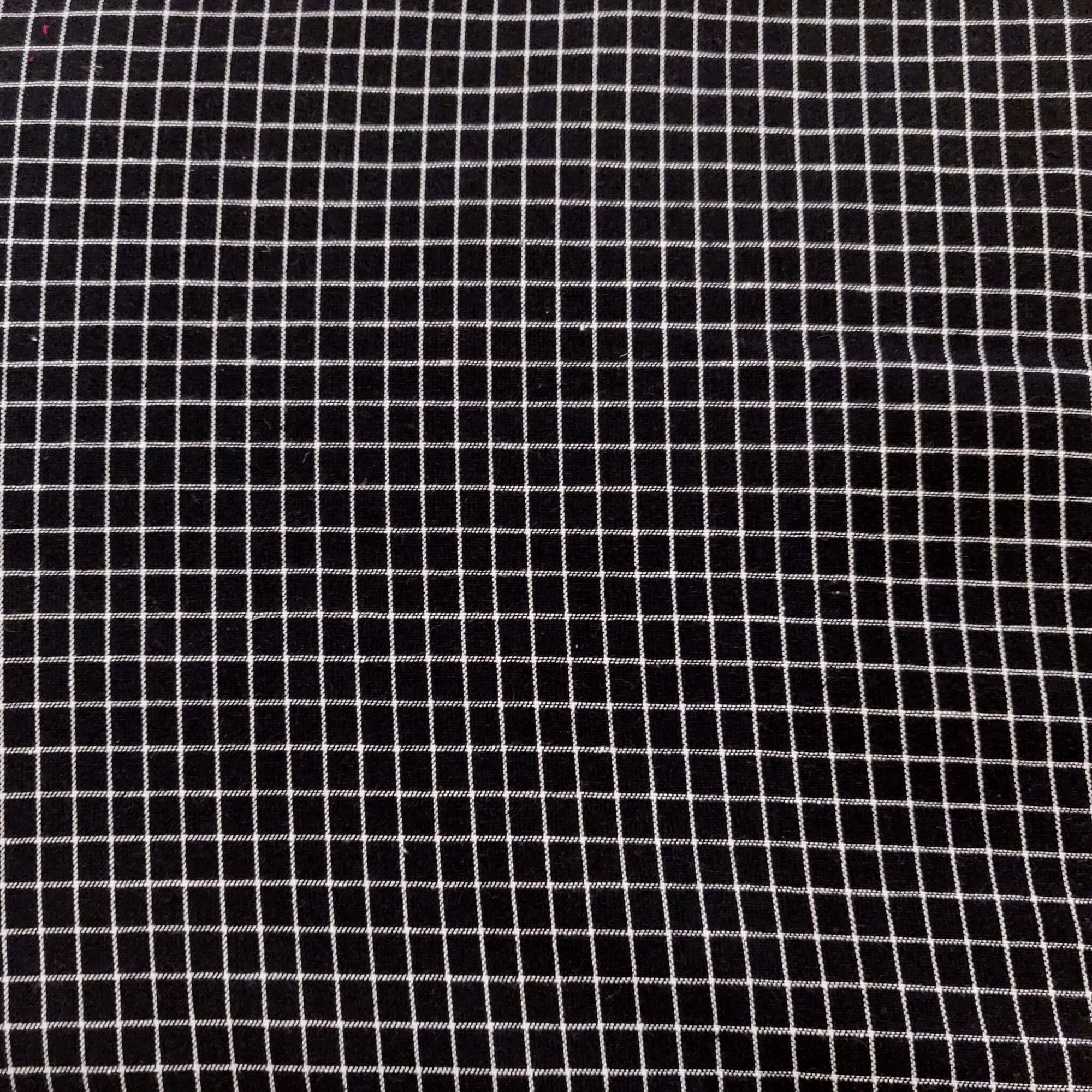 Pure Cotton Black With White Checks Woven Fabric