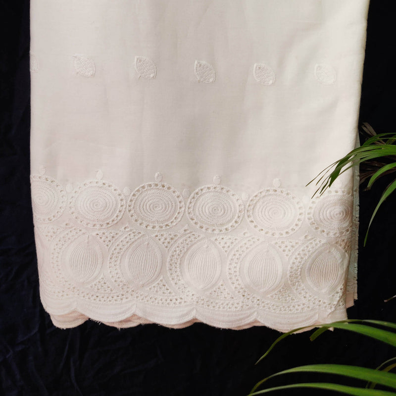 Pure Cotton Blobby Jaal Cutwork Chiken Embroidery At The End