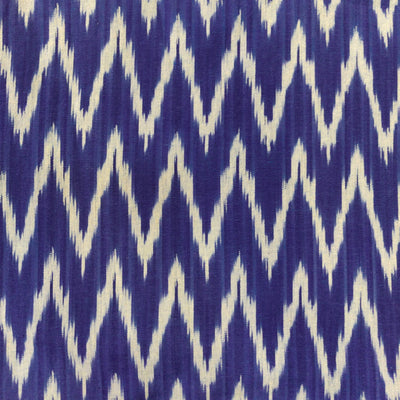 Pure Cotton Blue Ikkat With Off White Zig Zag Weaves Handwoven Fabric