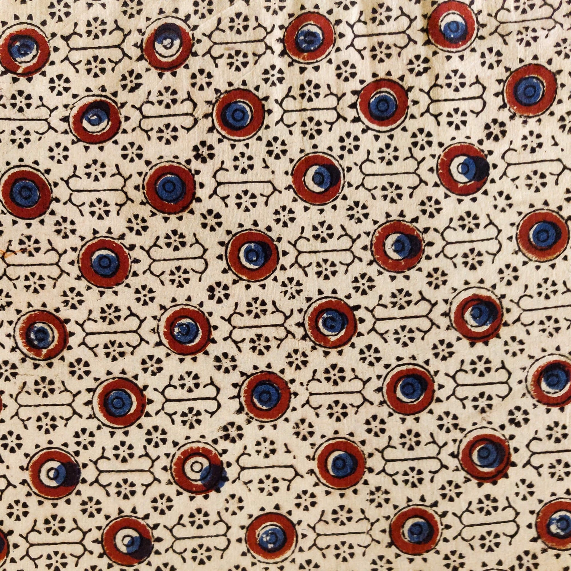 Pure Cotton Cream Ajrak With Circle In A Circle Hand Block Print Fabric
