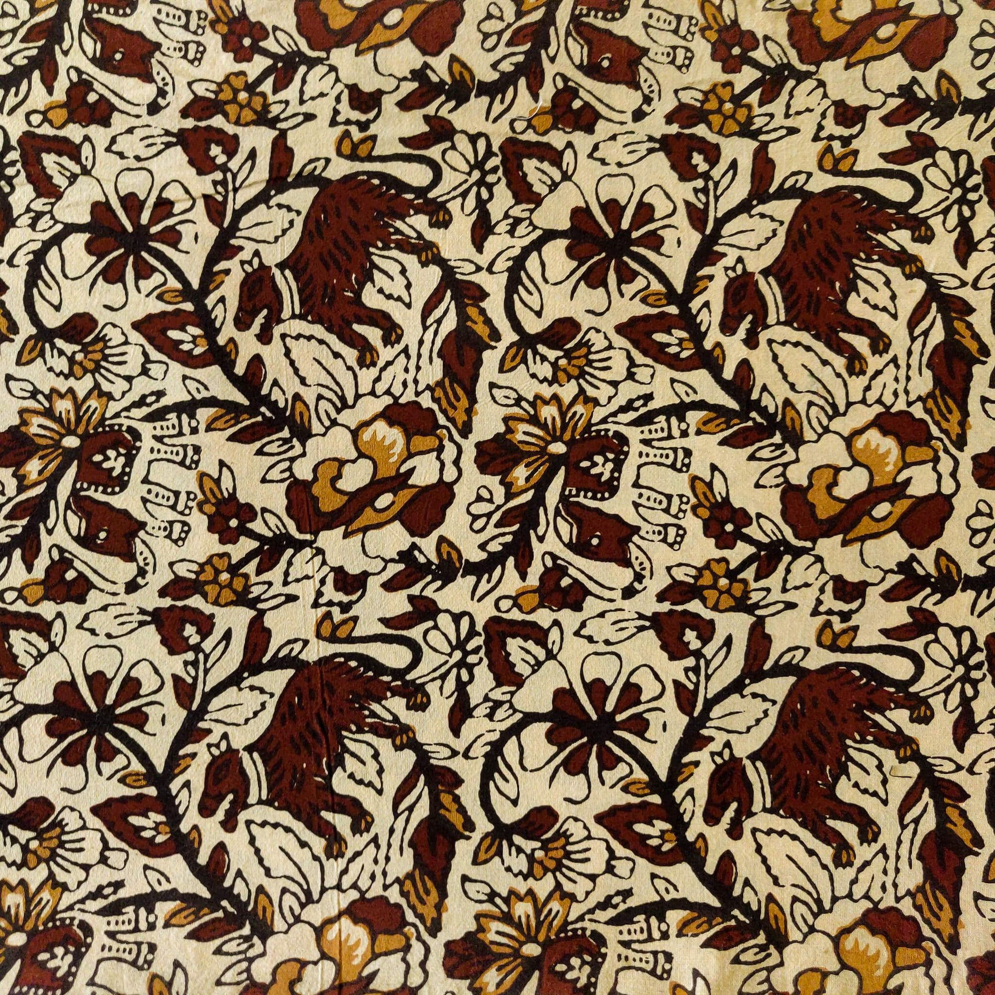 Pure Cotton Cream Kalamkari With Doggy Jaal Hand Block Print Fabric