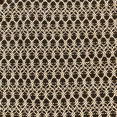 Pure Cotton Cream With Black Tiny Motif Screen Print Fabric