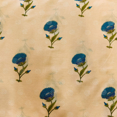 Pure Cotton Cream With Blue Single Flower Plant Screen Print Fabric