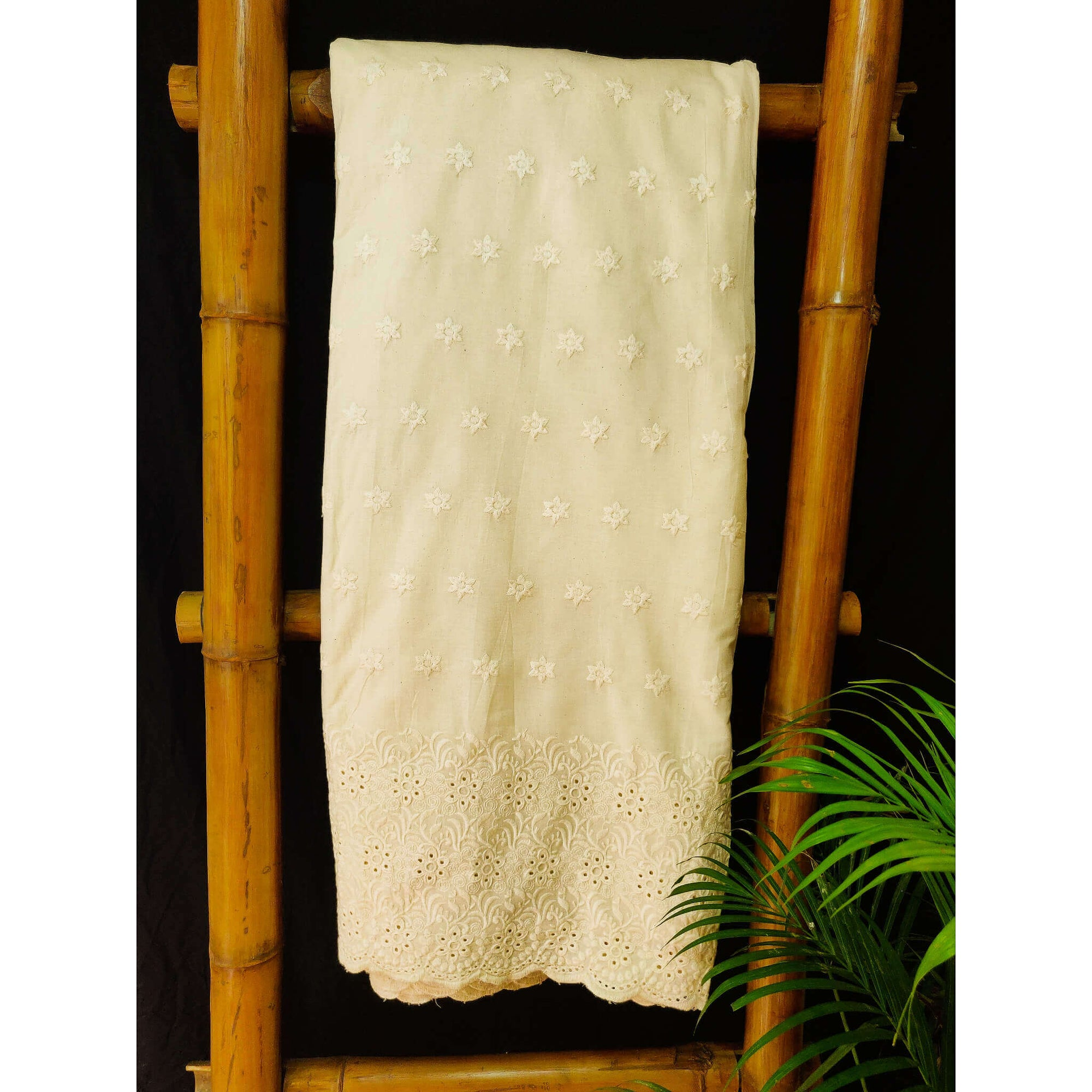 Pure Cotton Cream With Floral Jaal Chiken Cutwork Embroidery At The End