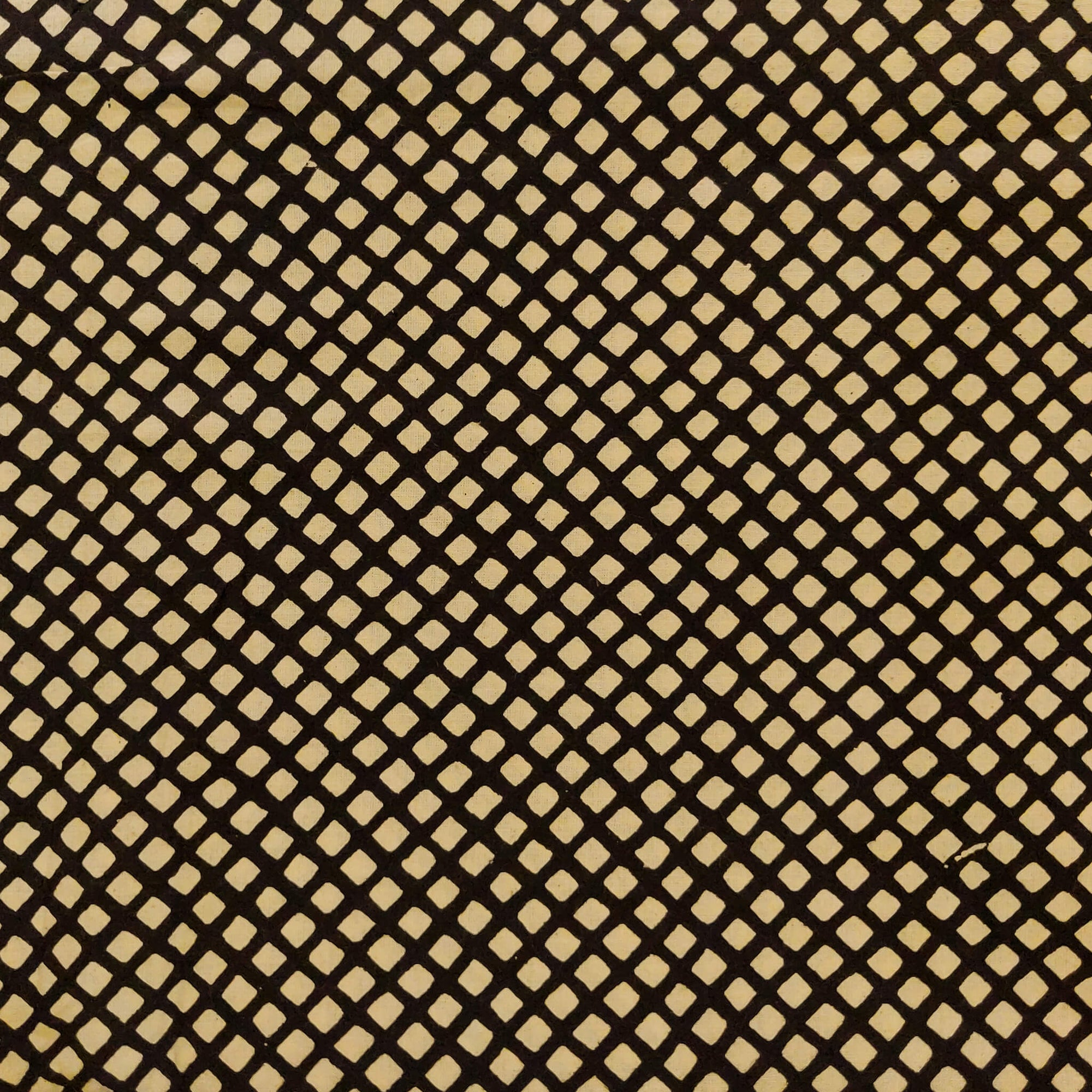 Pure Cotton Dabu Black With Cream Very Tiny Square Motifs Hand Block Print Fabric