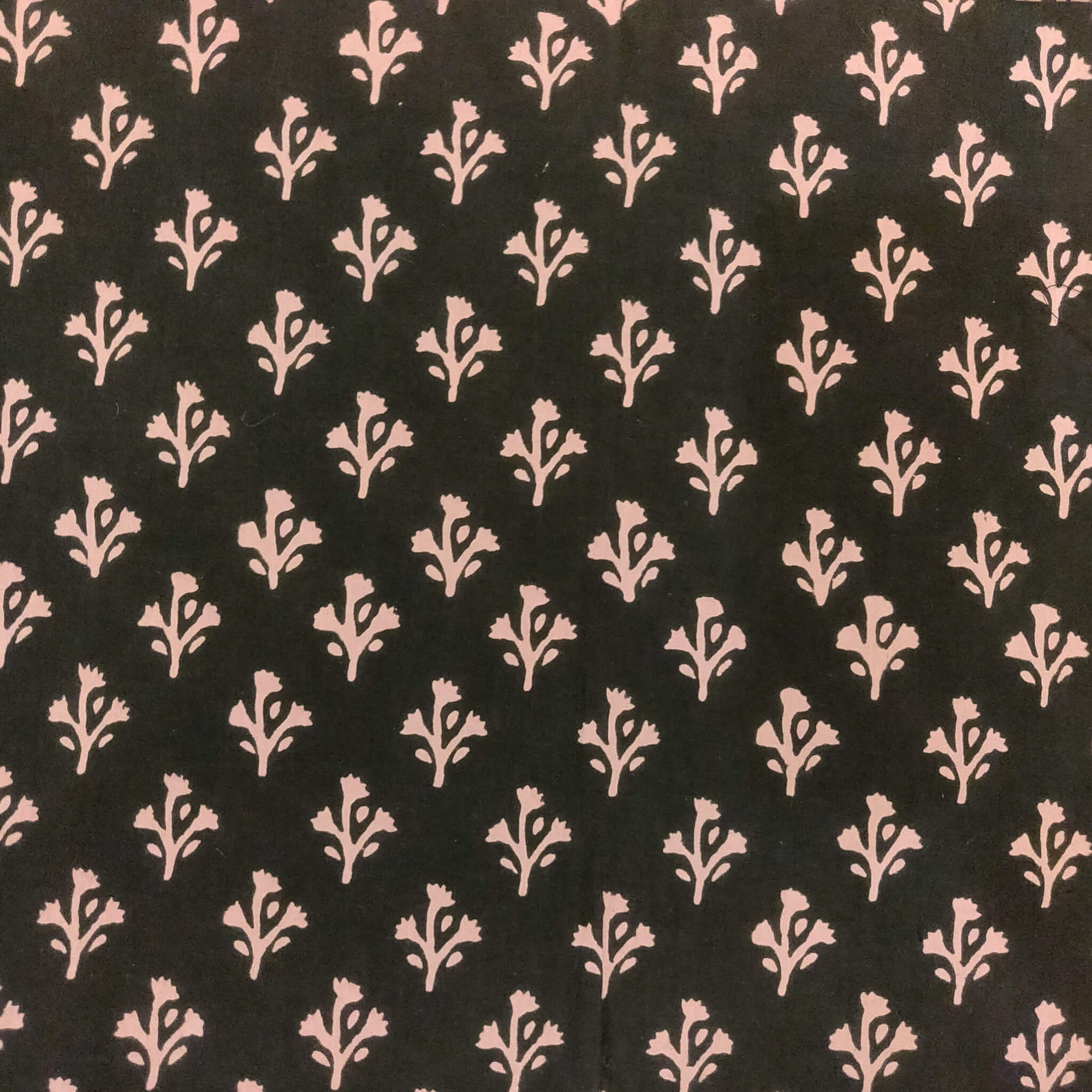 Pure Cotton Dabu Black With Tiny Mauve Motif Hand Block Print Fabric