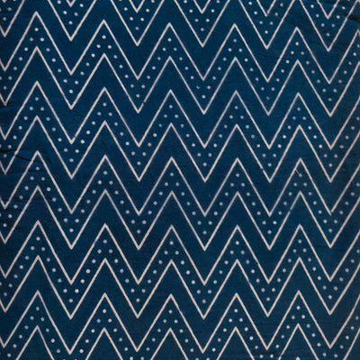 Pure Cotton Dabu Blue With Light Grey ZigZag Hand Block Print Fabric