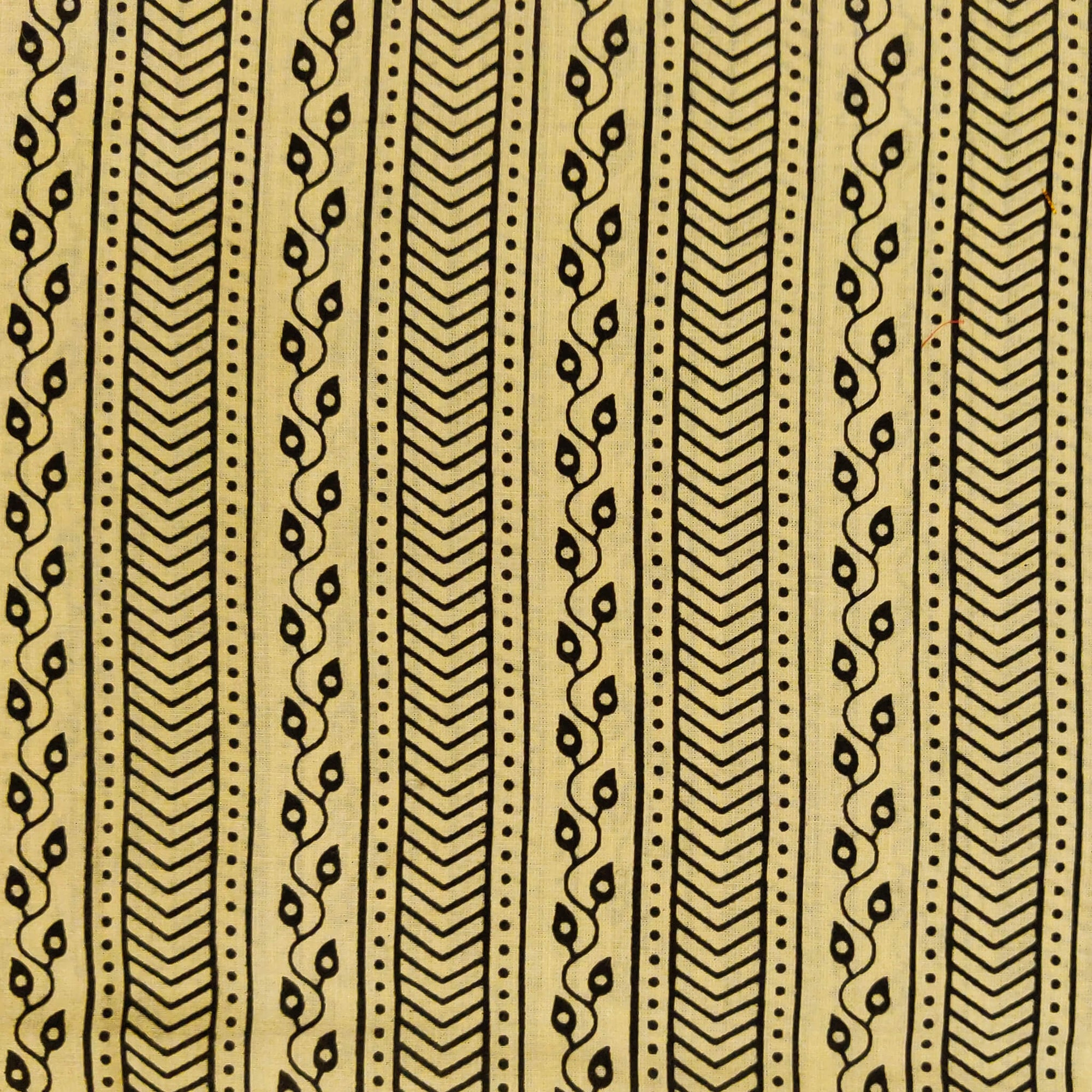 Pure Cotton Dabu Cream With Intricate Stripes Hand Block Print Fabric
