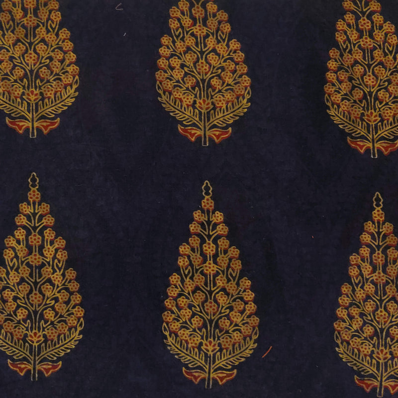 Pure Cotton Dabu Dark Blue With Mustard Mughal Motif Hand Block Print Fabric